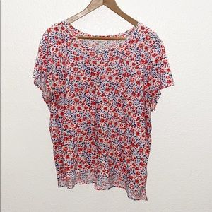 Lucky Brand White Blue & Red Floral Cotton Tee